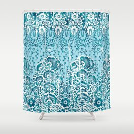 floral paisley in teal Shower Curtain