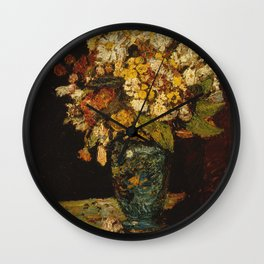 Adolphe Monticelli - Flowers In A Blue Vase Wall Clock