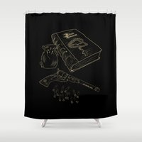 tool Shower Curtains featuring Hunter's tool of the trade by Nana Leonti