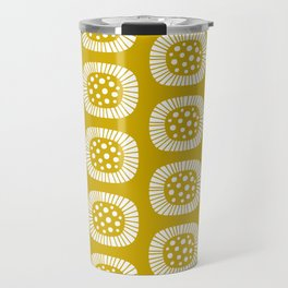 Mid Century Modern Atomic Sunburst Mustard Yellow Travel Mug