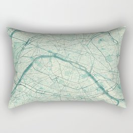 Paris Map Blue Vintage Rectangular Pillow