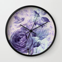 roses and ivy in purple Wall Clock