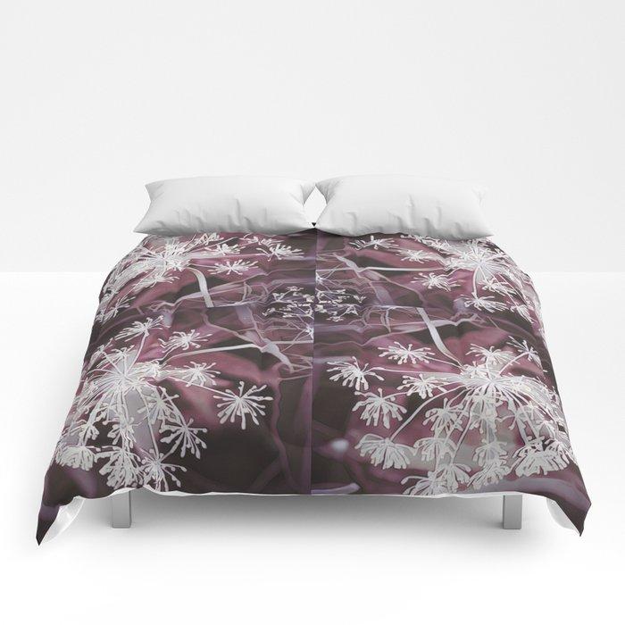 Dill Head in Dark Violet, Dreamy Floral Pattern Design Comforters