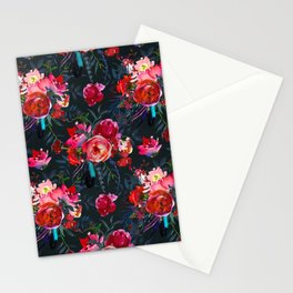 Cheerful Bright Magenta and  Pink Bouquets with Feathers on Black Stationery Cards