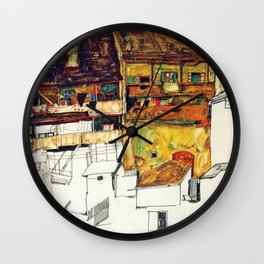 Egon Schiele - Old houses in Krumau 1914 Wall Clock