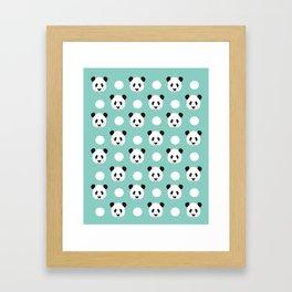 Panda polka dots pattern print minimal trendy kids design pillow cell phone cute panda cub character Framed Art Print