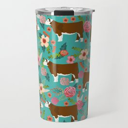 Hereford Cattle breed floral farm homestead gifts cow art florals Travel Mug