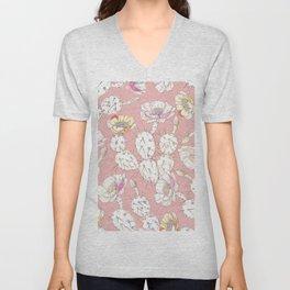 Modern white gold blush pink catus floral Unisex V-Neck