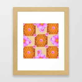 Quilted Style Fuchsia Pink Wild Rose Orange Pattern Abstract Framed Art Print