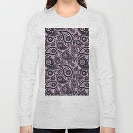 Lilac Purple Paisley Pattern Long Sleeve T-shirt