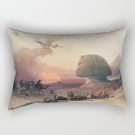 Approach of the simoom Desert of Gizeh  by David Roberts (1796-1864) Rectangular Pillow