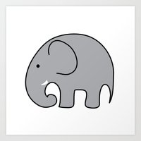 baby elephant Art Prints featuring BABY ELEPHANT  by EYE ECHO