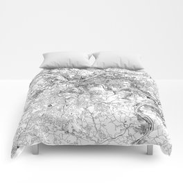 Pittsburgh White Map Comforters