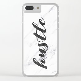 Hustle Text on Marble Black and White Clear iPhone Case