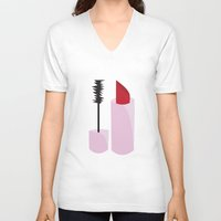 lipstick V-neck T-shirts featuring Lipstick by TofuCurtains