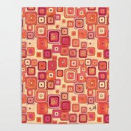 Watercolour Squares Red Amanya Design Poster