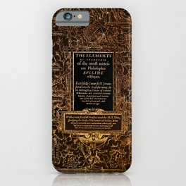 Euclid's Elements Renaissance Era Illustration Gold on Black iPhone Case