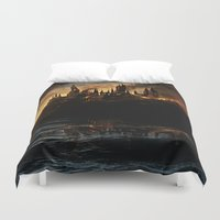 potter Duvet Covers featuring Harry Potter - Hogwart's Burning by Juniper Vinetree