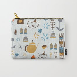hygge cat and bird gray Carry-All Pouch