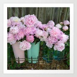 Garden Pink Peonies Aqua Pink Buckets Prints and Home Decor Art Print