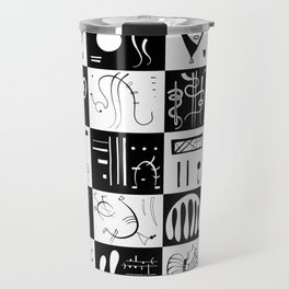 Kandinsky - Black and White Pattern - Abstract Art Travel Mug