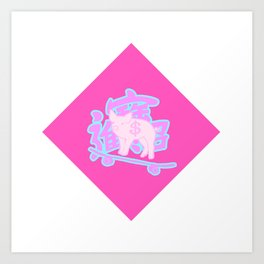SKATEBOARDING PIGGY Art Print