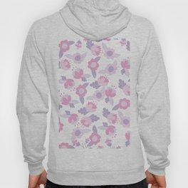 Hand painted pastel pink lavender modern floral Hoody