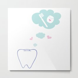 Tooth with Happy Thoughts Metal Print