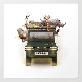African Safari Animals in Jeep Art Print