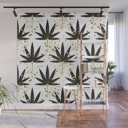 Stylized black palm leaves Wall Mural