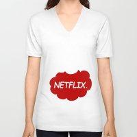 netflix V-neck T-shirts featuring Netflix Netflix by Goes4
