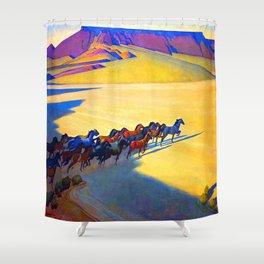 Maynard Dixon Wild Horses Shower Curtain