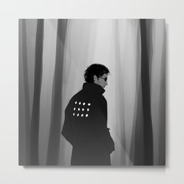 Man in middle of a forest Metal Print
