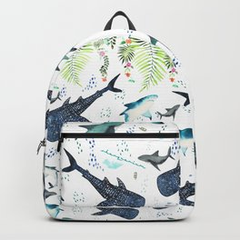 floral shark pattern Backpack