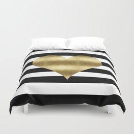 gold heart black and white stripe Duvet Cover