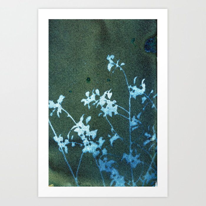 Blue Revealed Floral Art Print