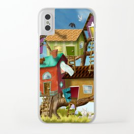 Home Sweet Tiny Tree Houses Clear iPhone Case