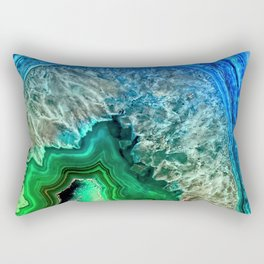 Turquoise Green Agate Mineral Gemstone Rectangular Pillow