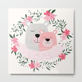 Mommy and Me Cute Baby Animal Nursery Bears and Flowers Pink Metal Print