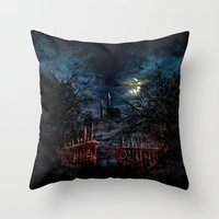 castlevania Throw Pillows featuring Castlevania: Vampire Variations- Gates by LightningArts