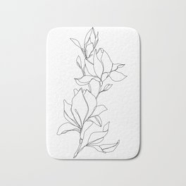 Botanical illustration line drawing - Magnolia Bath Mat