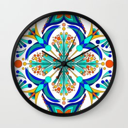 Hummingbird Charm Repeating Bird Spanish Tile Pattern Wall Clock