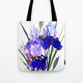Garden Irises, Blue Purple Floral Design Tote Bag