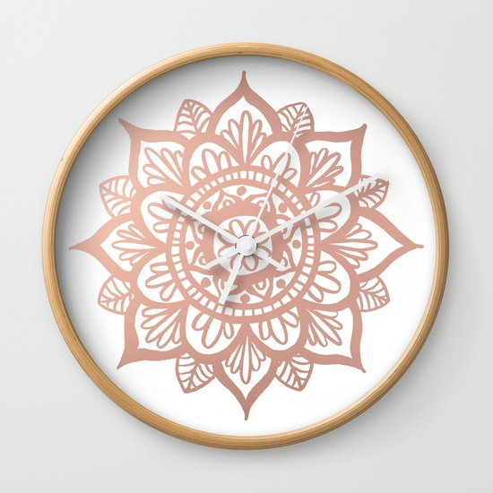 New Rose Gold Mandala Wall Clock