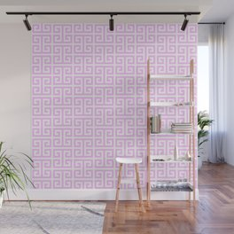 Pink and White Greek Key Pattern Wall Mural