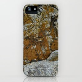 Cornish Headland Cracked Rock Texture with Lichen iPhone Case