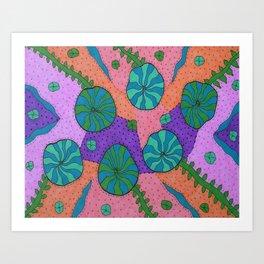 Retro Sea Garden Art Print