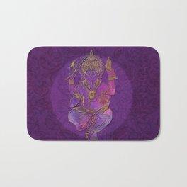 Ganesha hindu god watercolor gold purple art Bath Mat
