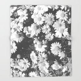 Black and White Flowers Throw Blanket