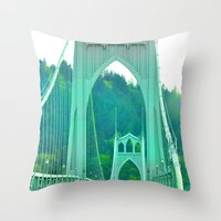 marc johns Throw Pillows featuring St. Johns Bridge Portland Oregon by Teresa Chipperfield Studios